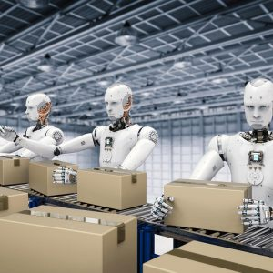 Robots packing boxes in a factory