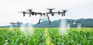 Drones with Brushless DC Motors spraying crops