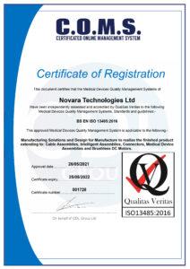 Novara ISO13485 Certificate for 2021 2022