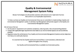 Novara Quality & Environmental Management System Policy