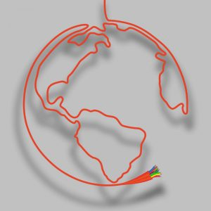 Map of the world created from a bespoke cable construction