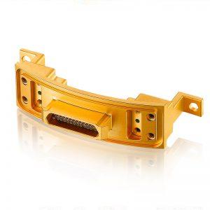Gold coloured bespoke machined Nano D-Sub Miniature Connector